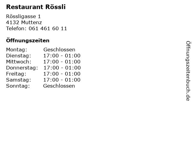 Restaurant Rössli in Muttenz: Adresse und Öffnungszeiten