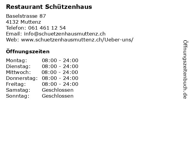 Restaurant Schützenhaus in Muttenz: Adresse und Öffnungszeiten