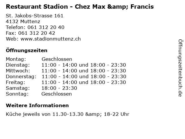 Restaurant Stadion - Chez Max & Francis in Muttenz: Adresse und Öffnungszeiten