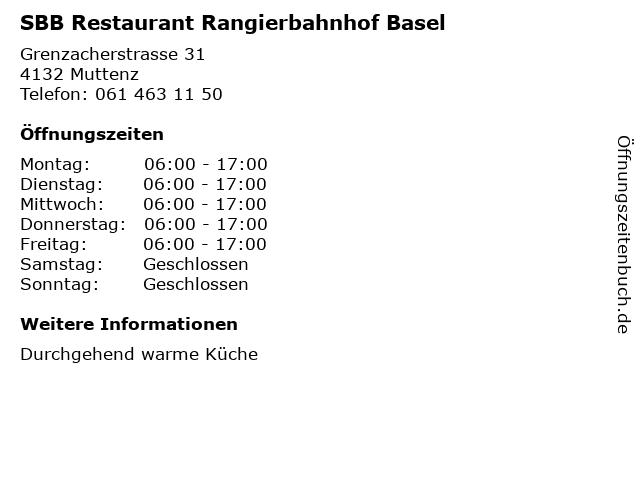 SBB Restaurant Rangierbahnhof Basel in Muttenz: Adresse und Öffnungszeiten