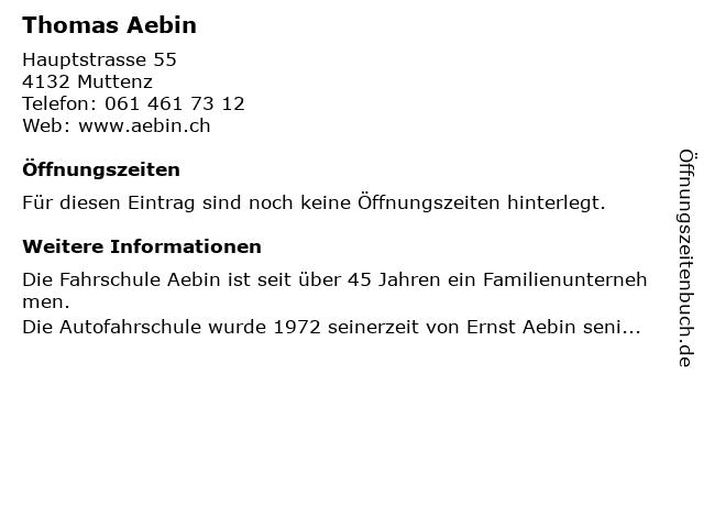 Thomas Aebin in Muttenz: Adresse und Öffnungszeiten