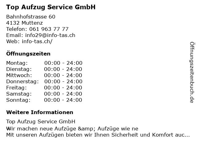 Top Aufzug Service GmbH in Muttenz: Adresse und Öffnungszeiten