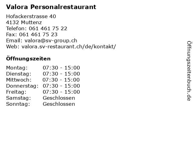 Valora Personalrestaurant in Muttenz: Adresse und Öffnungszeiten