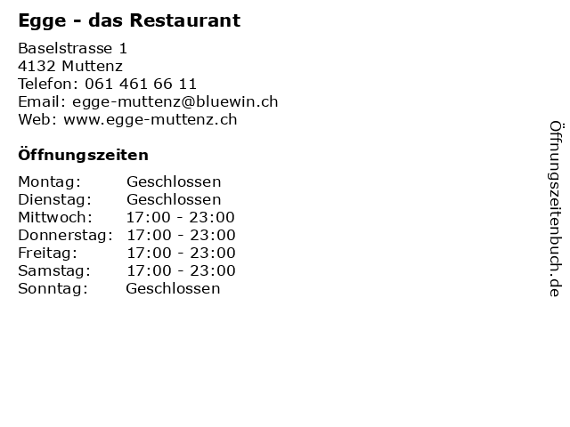 dr Egge - das Restaurant in Muttenz: Adresse und Öffnungszeiten