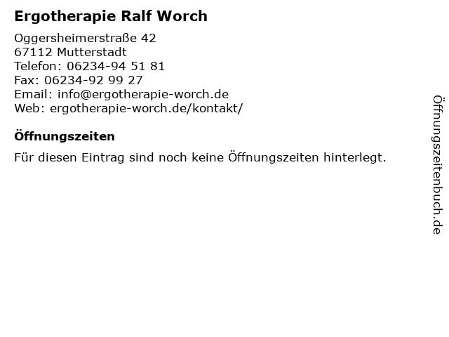 Ergotherapie Ralf Worch in Mutterstadt: Adresse und Öffnungszeiten
