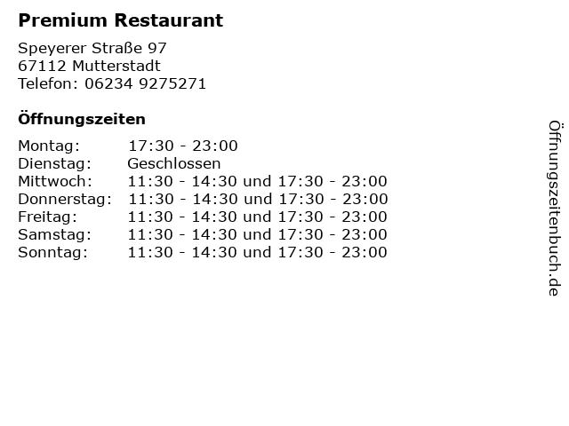 Premium Restaurant in Mutterstadt: Adresse und Öffnungszeiten