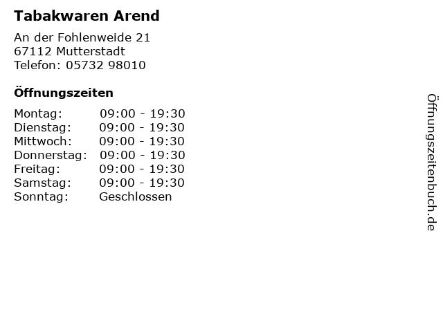Tabakwaren Arend in Mutterstadt: Adresse und Öffnungszeiten
