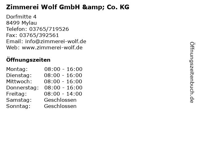 Zimmerei Wolf GmbH & Co. KG in Mylau: Adresse und Öffnungszeiten