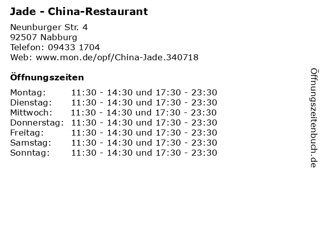 Jade - China-Restaurant in Nabburg: Adresse und Öffnungszeiten