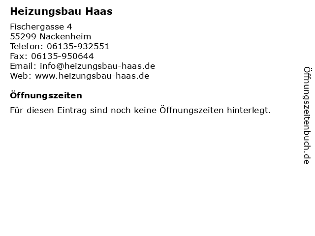 Heizungsbau Haas in Nackenheim: Adresse und Öffnungszeiten