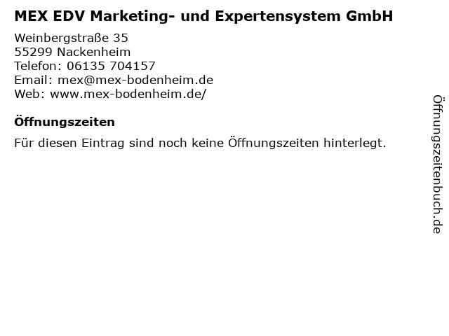MEX EDV Marketing- und Expertensystem GmbH in Nackenheim: Adresse und Öffnungszeiten