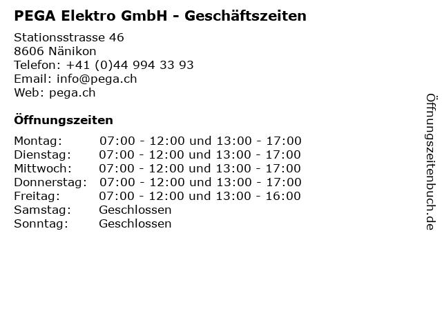 PEGA Elektro GmbH - Geschäftszeiten in Nänikon: Adresse und Öffnungszeiten