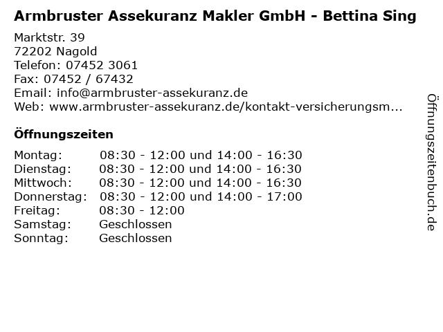 Armbruster Assekuranz Makler GmbH - Bettina Sing in Nagold: Adresse und Öffnungszeiten