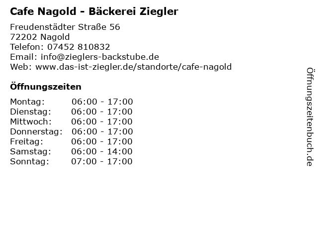 Bäckerei Ziegler in Nagold: Adresse und Öffnungszeiten