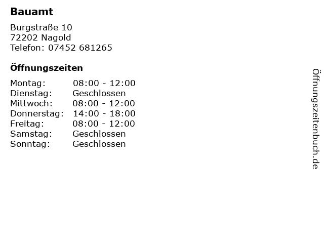 Bauamt in Nagold: Adresse und Öffnungszeiten