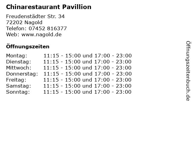 Chinarestaurant Pavillion in Nagold: Adresse und Öffnungszeiten