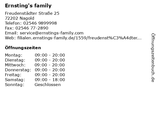 Ernsting's family in Nagold: Adresse und Öffnungszeiten