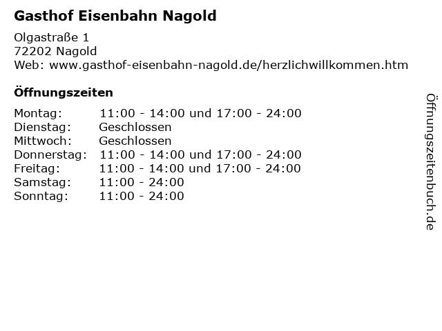 Gasthof Eisenbahn Nagold in Nagold: Adresse und Öffnungszeiten