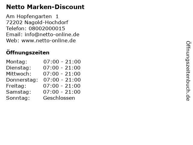 Netto Marken-Discount in Nagold-Hochdorf: Adresse und Öffnungszeiten