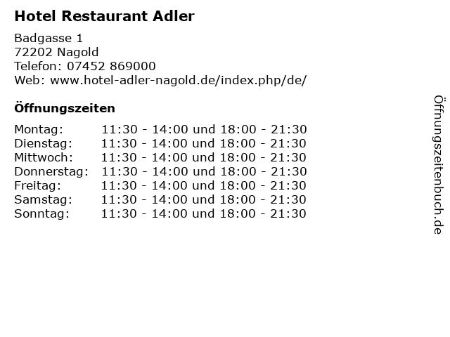 Hotel Restaurant Adler in Nagold: Adresse und Öffnungszeiten