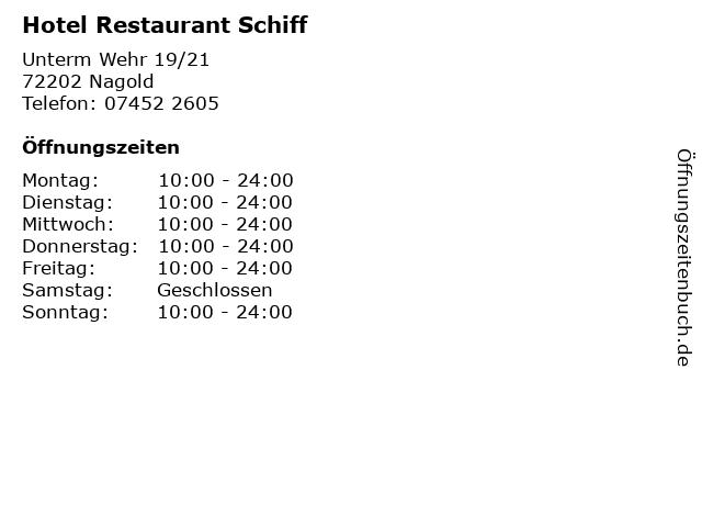 Hotel Restaurant Schiff in Nagold: Adresse und Öffnungszeiten