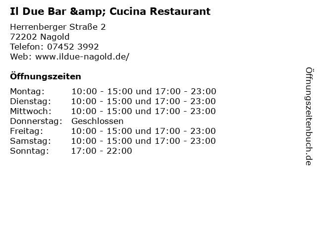 Il Due Bar & Cucina in Nagold: Adresse und Öffnungszeiten