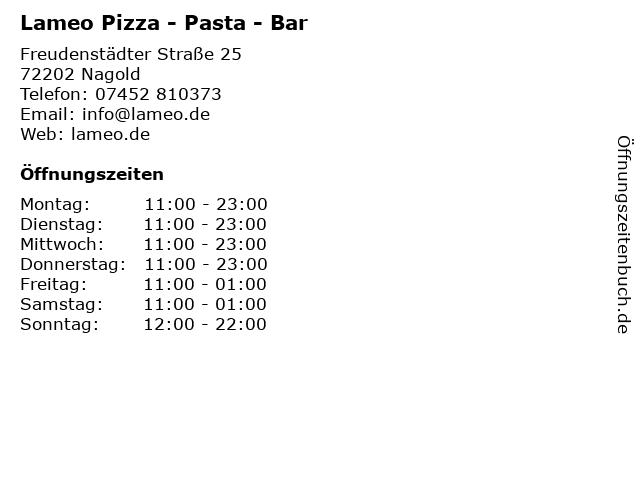 Lameo Pizza - Pasta - Bar in Nagold: Adresse und Öffnungszeiten
