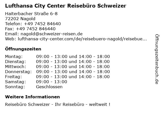 Lufthansa City Center Reisebüro Schweizer in Nagold: Adresse und Öffnungszeiten