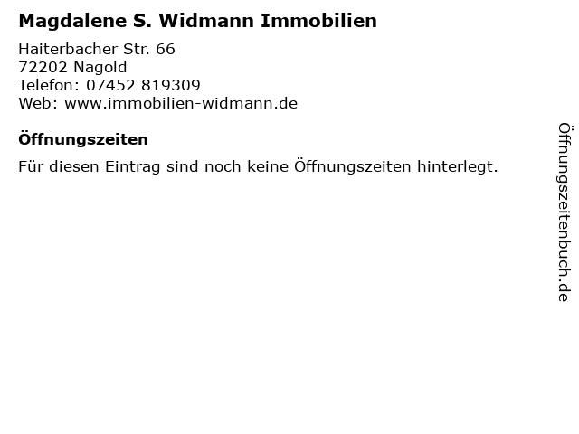 Magdalene S. Widmann Immobilien in Nagold: Adresse und Öffnungszeiten