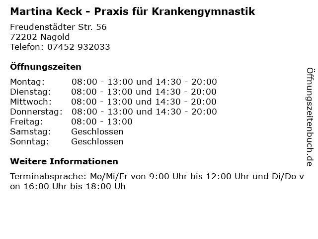 Martina Keck - Praxis für Krankengymnastik in Nagold: Adresse und Öffnungszeiten