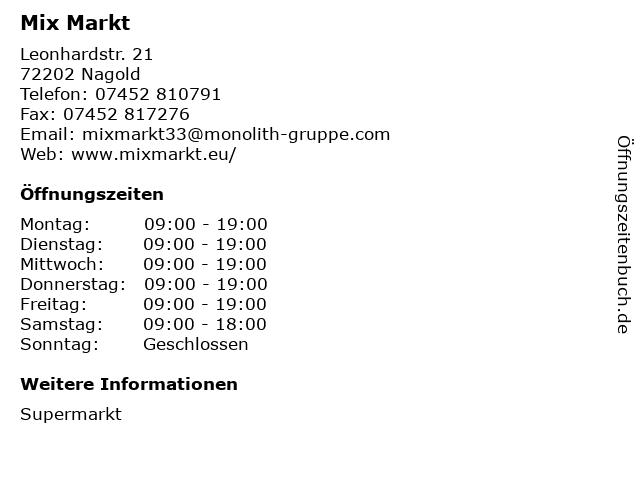 Mix Markt in Nagold: Adresse und Öffnungszeiten
