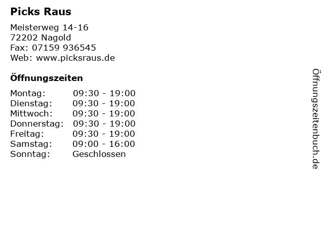Picks Raus in Nagold: Adresse und Öffnungszeiten