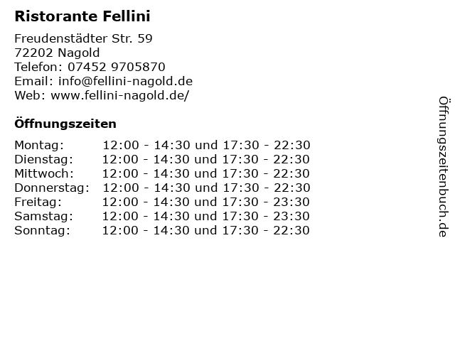 Ristorante Fellini in Nagold: Adresse und Öffnungszeiten
