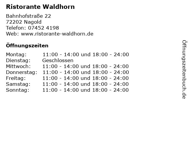 Ristorante Waldhorn in Nagold: Adresse und Öffnungszeiten