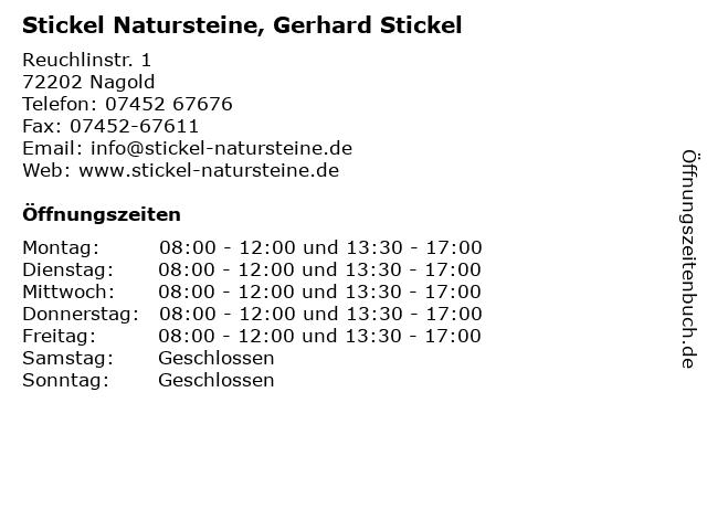 Stickel Natursteine, Gerhard Stickel in Nagold: Adresse und Öffnungszeiten