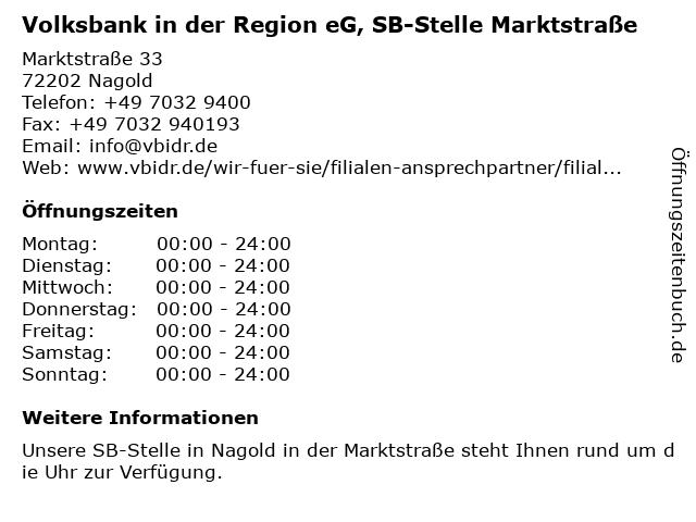 Volksbank Herrenberg-Nagold-Rottenburg eG, SB-Stelle Marktstraße in Nagold: Adresse und Öffnungszeiten