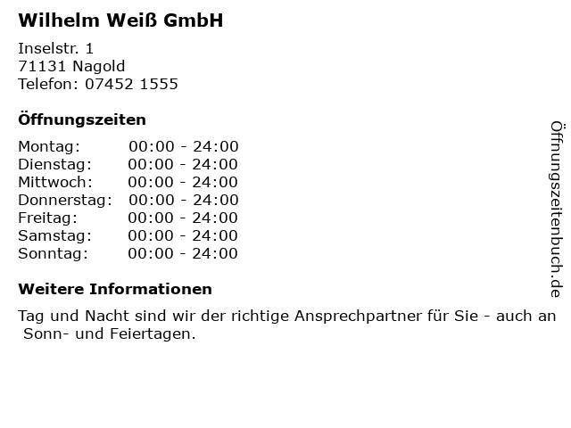 Wilhelm Weiß GmbH in Nagold: Adresse und Öffnungszeiten