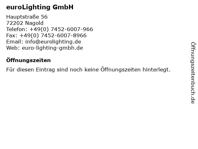 euroLighting GmbH in Nagold: Adresse und Öffnungszeiten