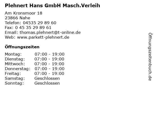 Plehnert Hans GmbH Masch.Verleih in Nahe: Adresse und Öffnungszeiten