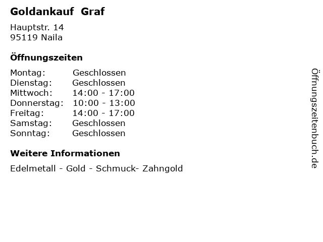 Goldankauf  Graf in Naila: Adresse und Öffnungszeiten