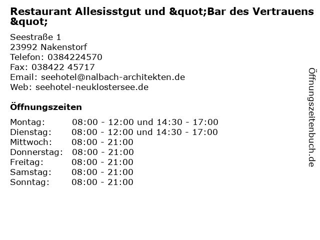 Restaurant Allesisstgut in Nakenstorf: Adresse und Öffnungszeiten