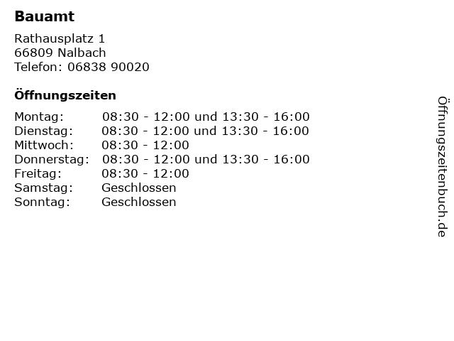 Bauamt in Nalbach: Adresse und Öffnungszeiten