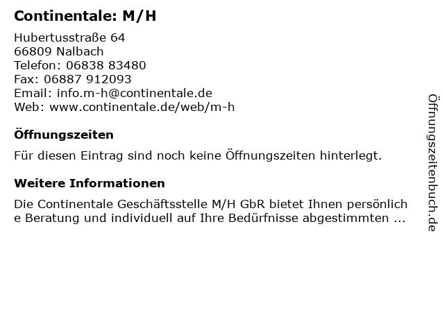 Continentale: M/H in Nalbach: Adresse und Öffnungszeiten