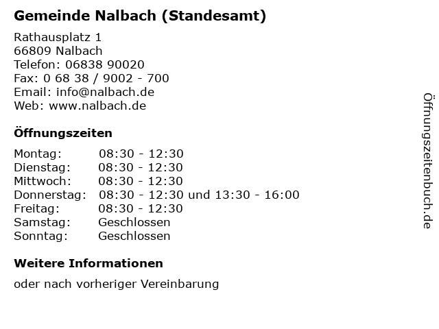 Gemeinde Nalbach (Standesamt) in Nalbach: Adresse und Öffnungszeiten