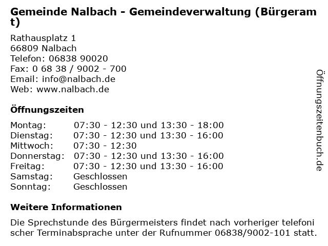 Gemeinde Nalbach - Gemeindeverwaltung (Bürgeramt) in Nalbach: Adresse und Öffnungszeiten