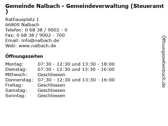 Gemeinde Nalbach - Gemeindeverwaltung (Steueramt) in Nalbach: Adresse und Öffnungszeiten