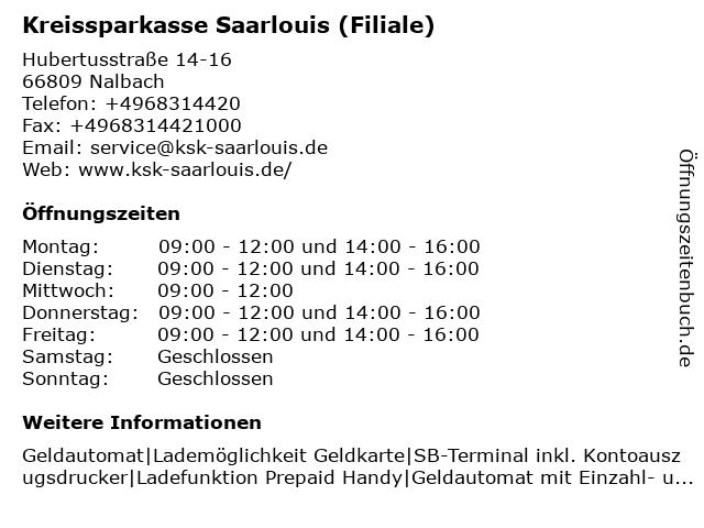 Kreissparkasse Saarlouis - Filiale Nalbach in Nalbach: Adresse und Öffnungszeiten