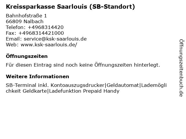 Kreissparkasse Saarlouis - Filiale Körprich in Nalbach: Adresse und Öffnungszeiten