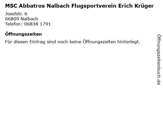 MSC Abbatros Nalbach Flugsportverein Erich Krüger in Nalbach: Adresse und Öffnungszeiten