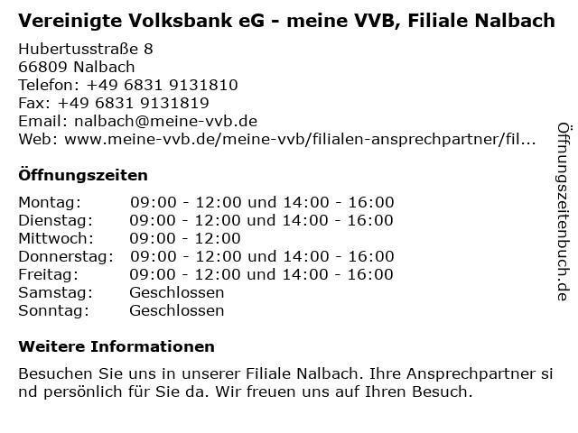 Vereinigte Volksbank eG - meine VVB, Filiale Nalbach in Nalbach: Adresse und Öffnungszeiten